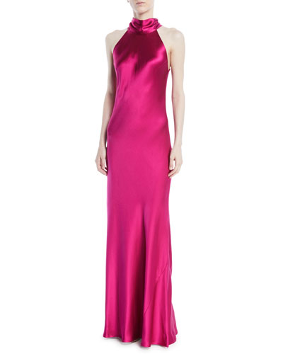 Tie-Neck Sleeveless Silk Gown