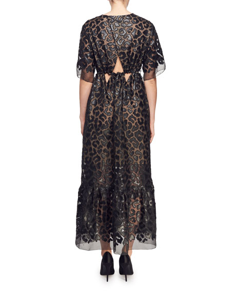 Plunging Short-Sleeve Twisted-Front Faux-Leather Burnout Long Dress