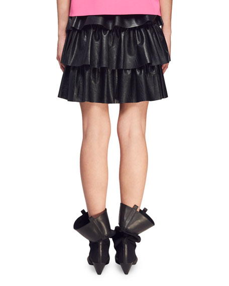 Tiered Faux-Napa Mini Skirt