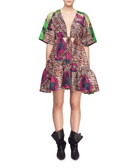 Saniya Plunging Twisted-Front Dutch Fan-Print Dress with Peplum Hem