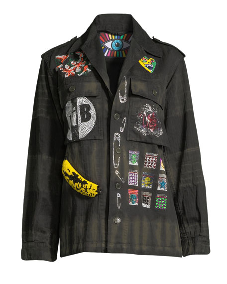 Crystal Collage Beaded Army Jacket