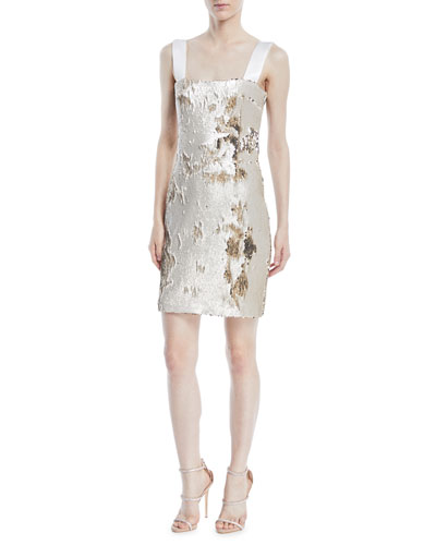 Square-Neck Sleeveless Sequin Mini Cocktail Dress