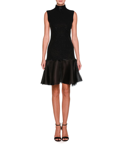 Sleeveless Mock-Neck Sequin Cocktail Dress with Flounce Hem