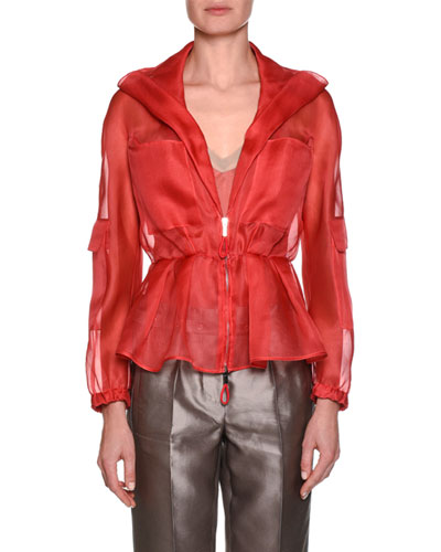 Silk Organza Zip-Front Jacket with Pockets