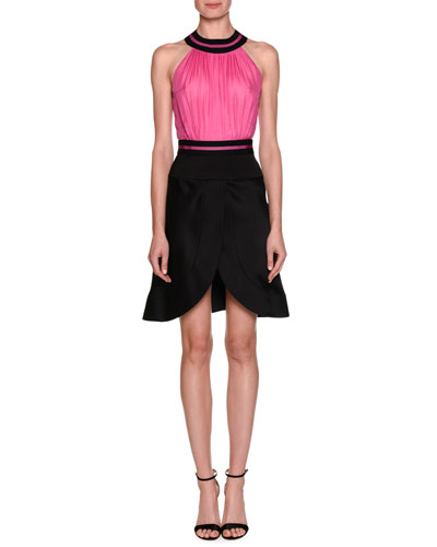 Sleeveless Colorblock Fit-and-Flare Cocktail Dress