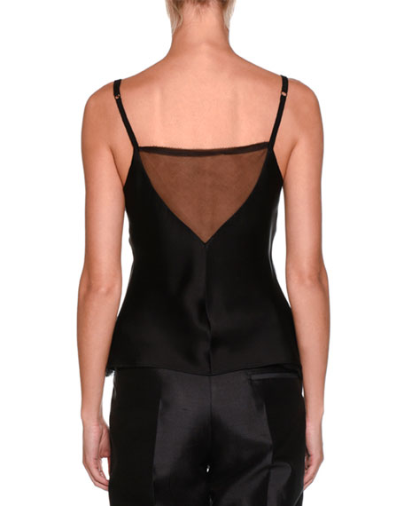 V-Neck Spaghetti-Strap Silk Camisole with Frayed Chiffon Trim