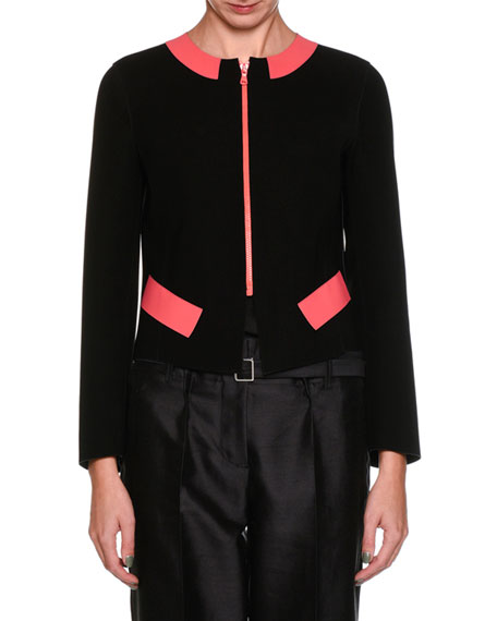 Zip-Front Neoprene Jacket with Contrast Panels