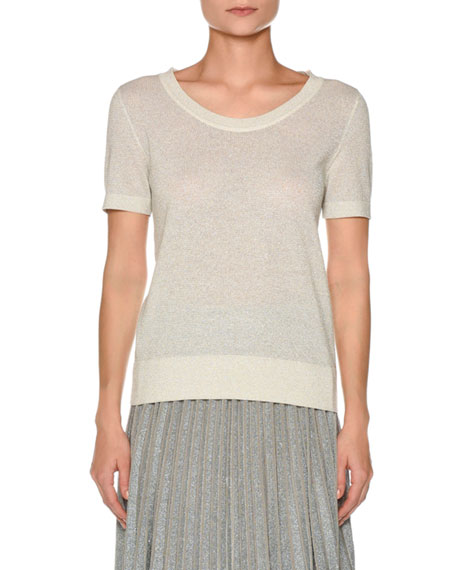 Short-Sleeve Metallic Knit T-Shirt