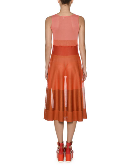 Viscose Knit Ombre Colorblocked Flared Tank Dress