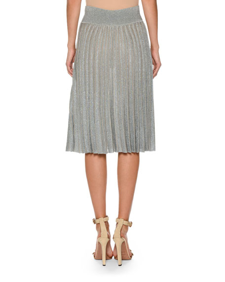 Pleated Metallic Knit Skirt
