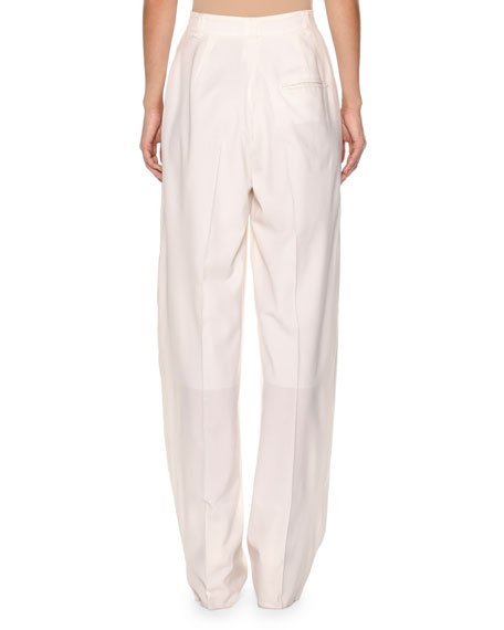 High-Waist Superfine Poplin Double-Pleated Pants