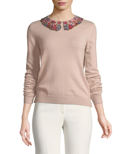 Long-Sleeve Cashmere Sweater with Floral-Sequined Collar