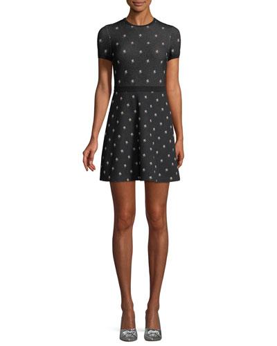 Cap-Sleeve Rosebud Knit Dress