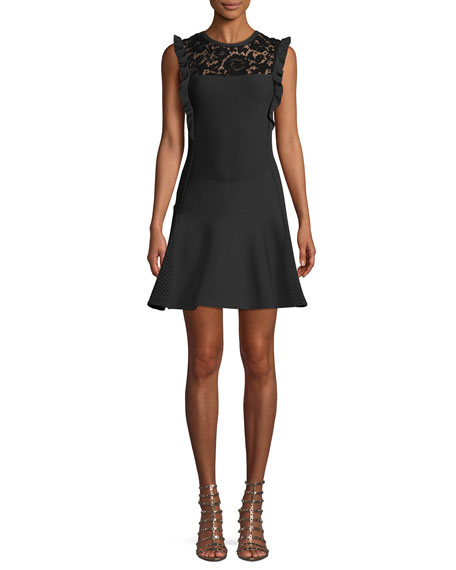 Sleeveless Fit-and-Flare Knit Dress w/ Lace Insert