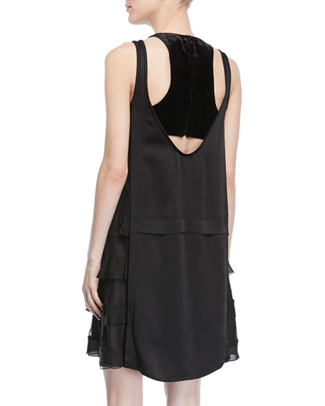 Sleeveless Hammered Satin Dress w/ Sheer Sides