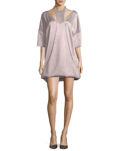 3/4-Sleeve Hammered Lamé Dress with Cutout Detail