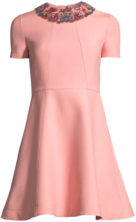Short-Sleeve Crepe Couture A-Line Dress w/ Embroidered Collar