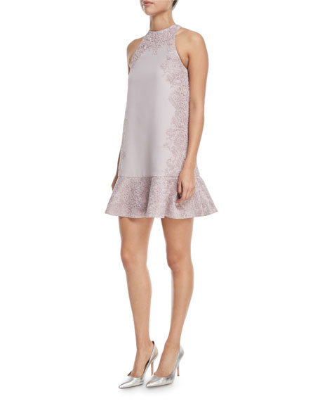 Crepe Couture Dress with Heavy Metallic Lace Inlay