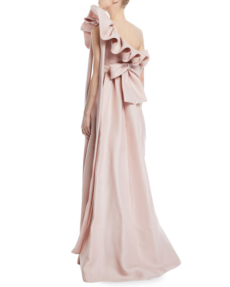 One-Shoulder Ruffle Light-Gazaar Full Evening Gown