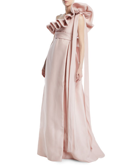 74f813cfc5e1 Valentino One-Shoulder Ruffle Light-Gazaar Full Evening Gown