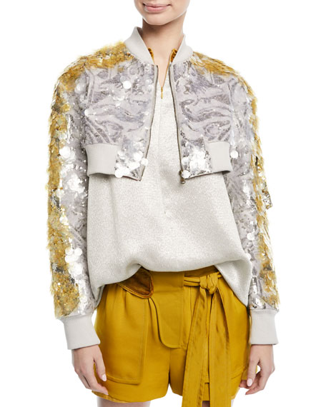 Cropped Zip-Front Sequin Paillette Jacket