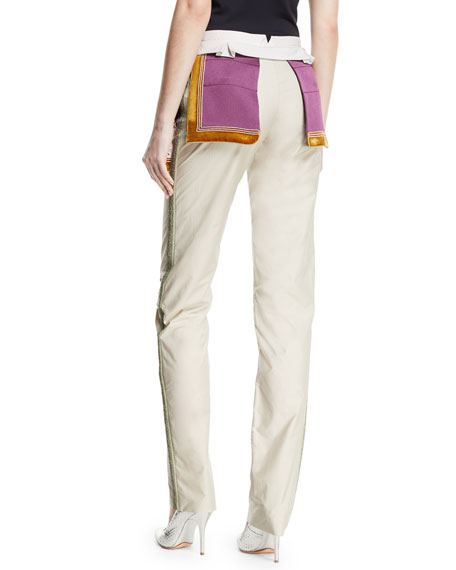 Embroidered Straight-Leg Cargo Pants