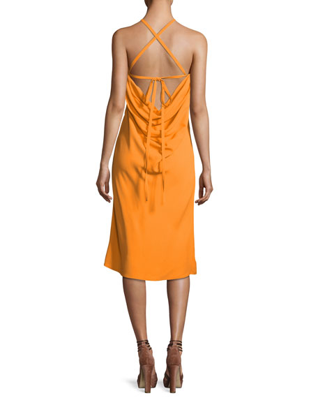 Ruched Crepe Halter Dress