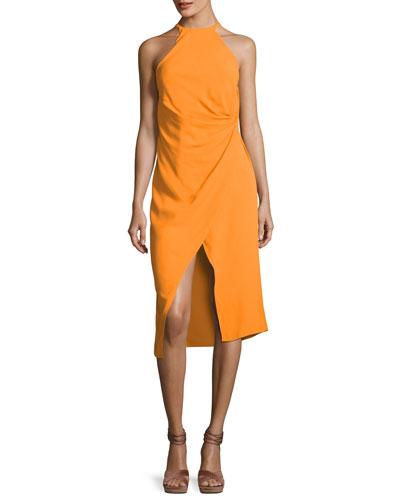 Ruched Crepe Halter Dress