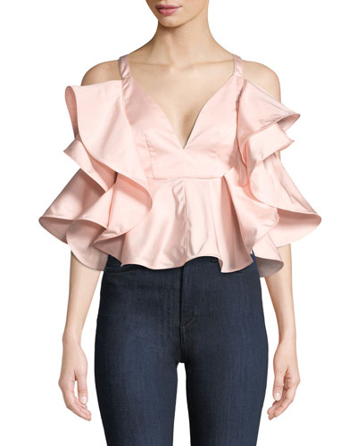 Ruffled Satin Tie-Back Top