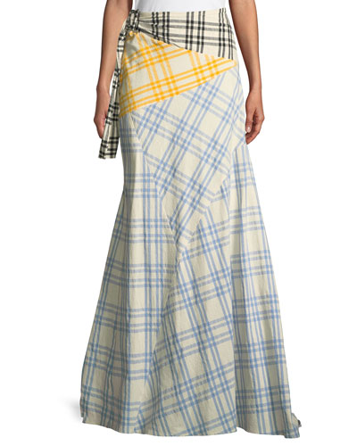 Mixed-Plaid Maxi Wrap Skirt