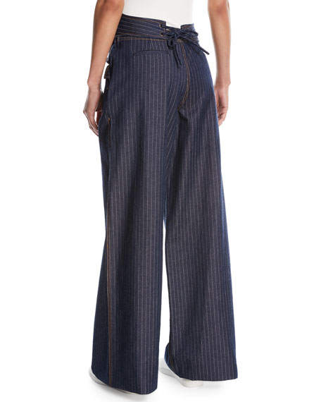 Wide-Leg Pinstriped Denim Pants
