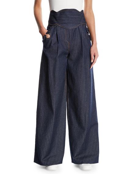 Wide-Leg Pinstriped Denim Pants