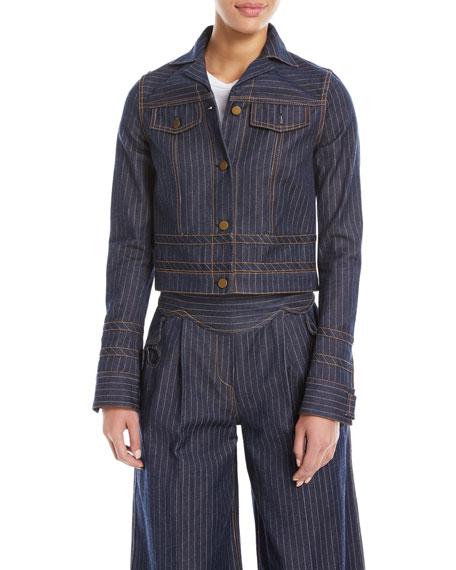 Pinstriped Denim Jacket