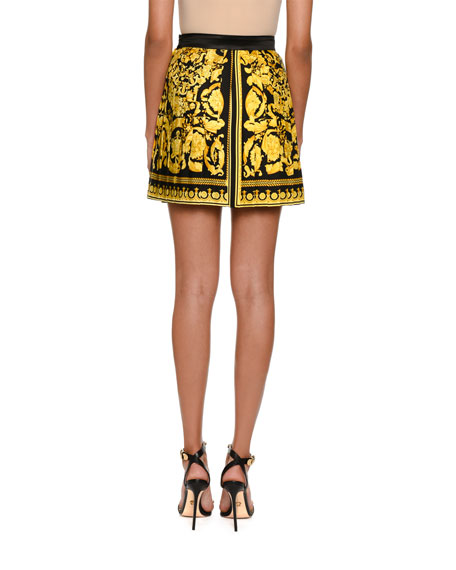 Pleated Baroque-Print Skirt