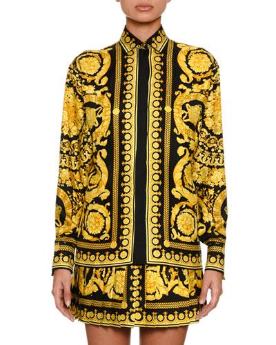 Baroque-Print Silk Blouse