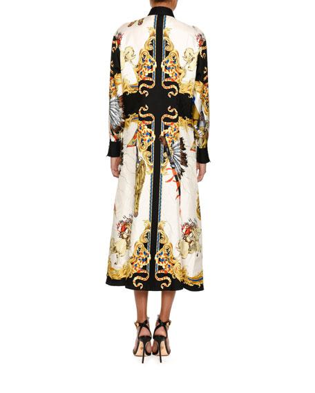 Western-Print Silk Shirtdress