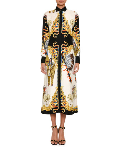 Western-Print Silk Shirtdress