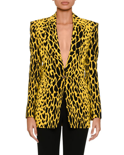 Animal One-Button Blazer