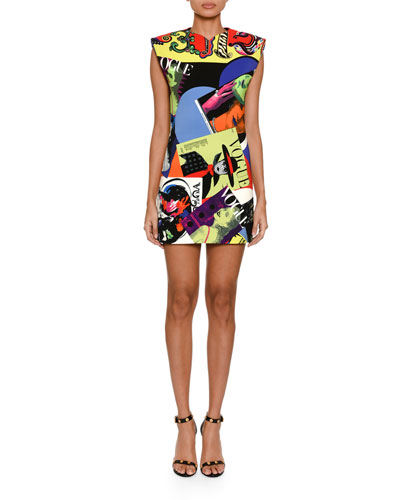 Vogue-Print Strong-Shoulder Dress