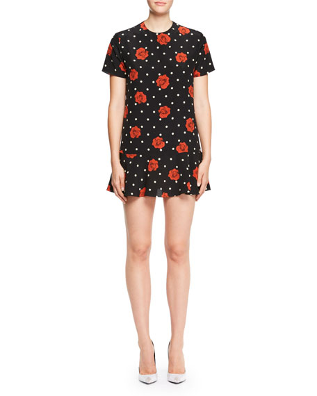Short-Sleeve Polka Dot Rose Dress