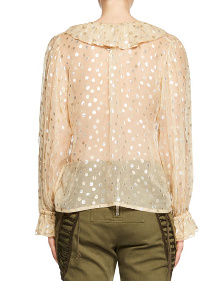 Metallic Ruffle-Neck Polka Dot Blouse