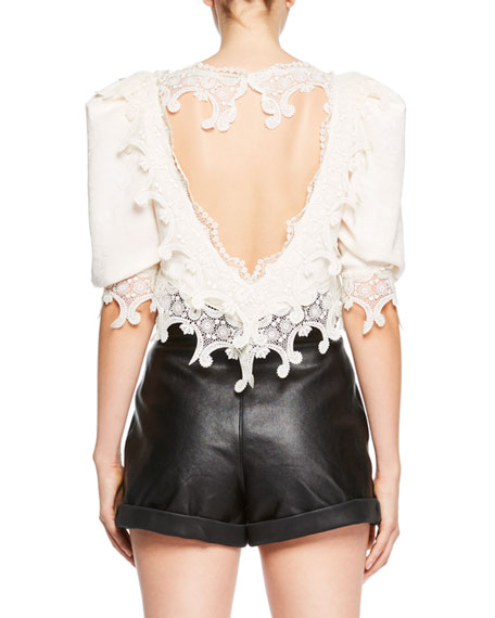 Embroidered Mesh Cutout Crop Blouse