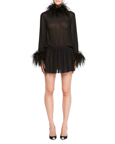 Feather-Trim Cinched Chiffon Mini Dress