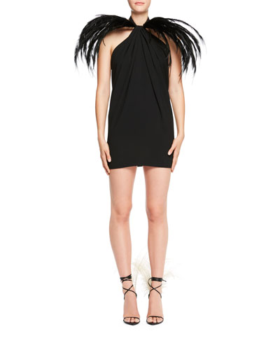 Feather-Trim Halter Mini Dress