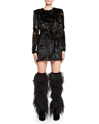 Long-Sleeve Burnout Velvet Mini Dress