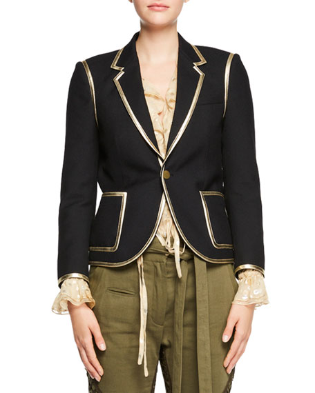 Metallic-Trim One-Button Blazer