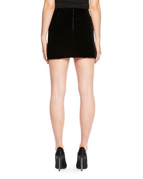 Scallop-Hem Velvet Skirt