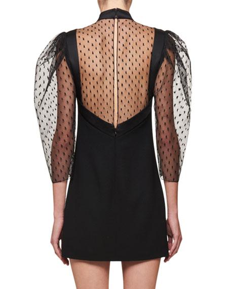 Sheer Blouson-Sleeve Mini Dress