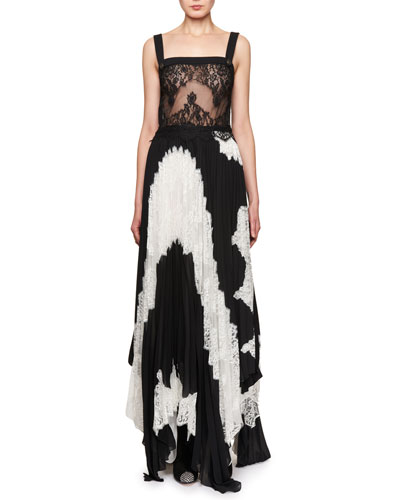 Sleeveless Pleated Bicolor Lace Gown