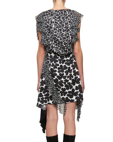Asymmetric Vintage Clover-Print Dress